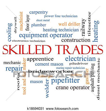Clipart of Skilled Trades Word Cloud Concept k18594031 ...