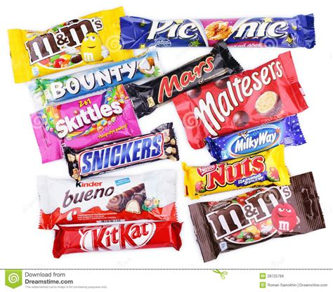 Closeup Of Various Chocolate Bars On White Editorial Photo ...
