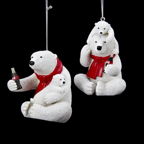 Club Pack of 12 Coca Cola Polar Bears with Cub Decorative ...