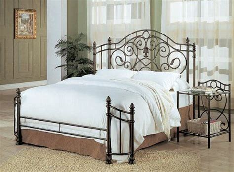 Coaster Queen Size Antique Gold Finish Metal Bed Headboard ...