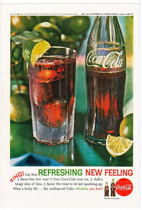 Coca Cola Zing get that Refreshing New Feeling Ad 1962   Etsy