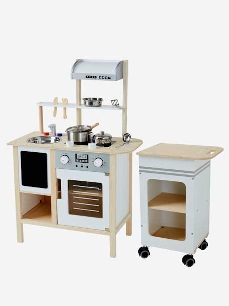 Cocina grande de madera + mesa de servicio blanco fuerte ...