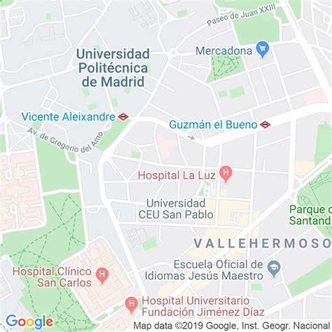 Código Postal calle General Asensio Cabanillas en Madrid ...