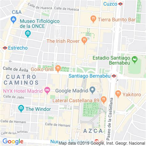 Código Postal calle General Peron, avenida en Madrid ...