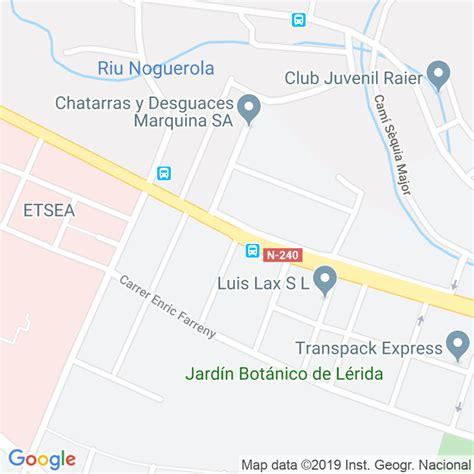 Código Postal calle Monestir De Les Avellanes en Lleida ...