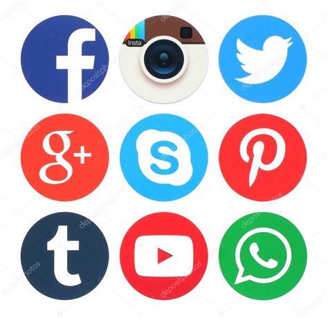 Colección de logos de redes sociales ronda popular — Foto ...