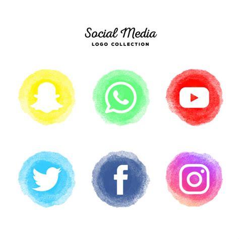 Colección de logotipos de redes sociales de acuarela ...
