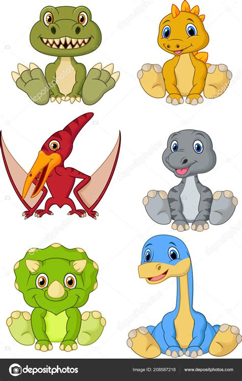 Colección Dibujos Animados Dinosaurios Bebé Lindo — Vector ...