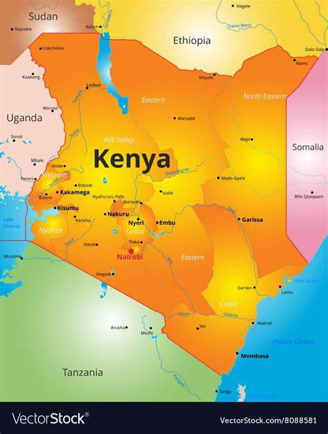Color map of Kenya country Royalty Free Vector Image