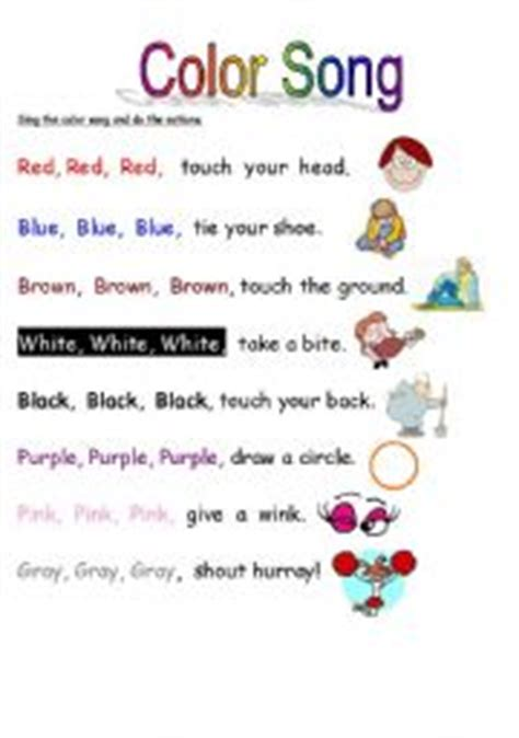 Color Song   ESL worksheet by whiteheads