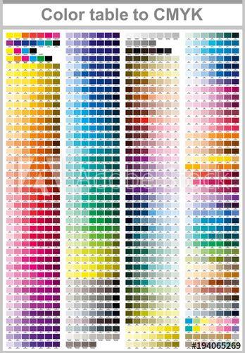 Color table Pantone to CMYK. Color print test page ...