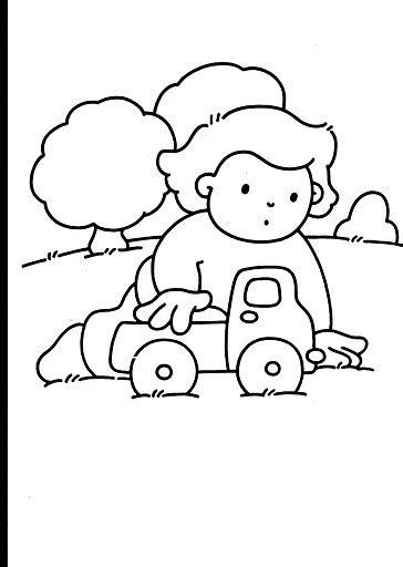 COLOREA TUS DIBUJOS: Niño jugando con carrito