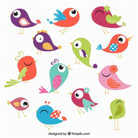 Colored birds collection Vector | Free Download