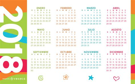 Colorful 2018 calendar in Spanish   Vector download