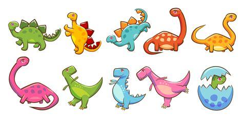 Colorful Cartoon Dinosaur Set   Download Free Vectors ...