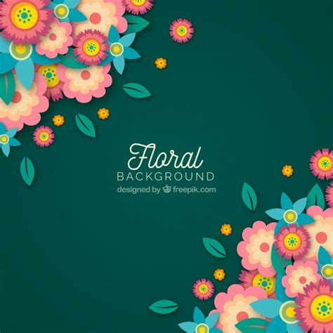 Colorful floral background with flat design Vector | Free ...