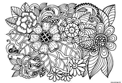 Coloriage beau doodle motif floral adulte   JeColorie.com