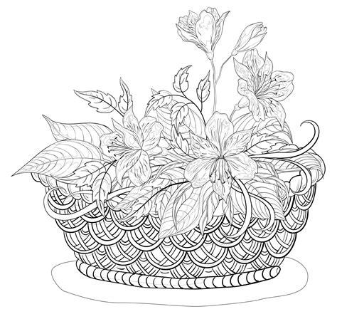 Coloriage d un panier de composition florale