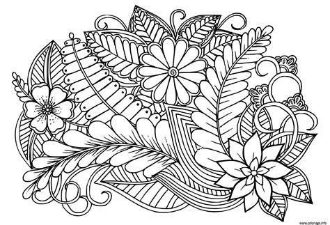 Coloriage Doodle motif floral en noir et blanc adulte ...