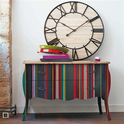 Commode à rayures en bois multicolore L 120 cm | Furniture ...