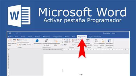 Como activar la pestaña Desarrollador en Word de Microsoft ...