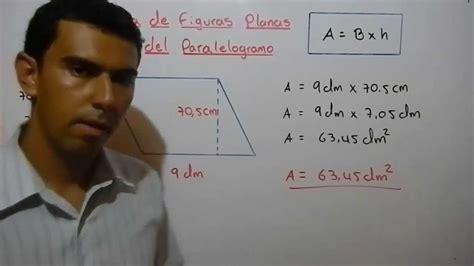 Como calcular el área de un paralelogramo. Ejemplo 6   YouTube