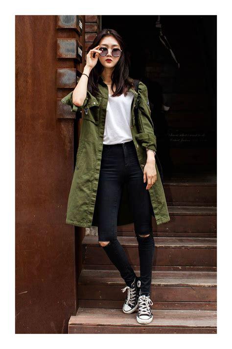Cómo combinar el color verde militar | Moda coreana, Moda ...