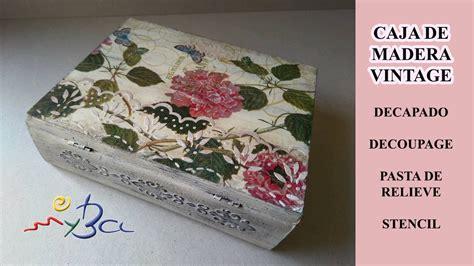 Cómo decorar cajas de madera. Caja libro vintage con ...