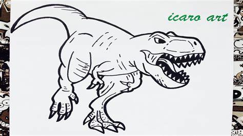 Como dibujar al tiranosaurio rex | how to draw ...