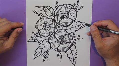 Cómo dibujar Flores  Pensamientos    How to draw Flowers ...