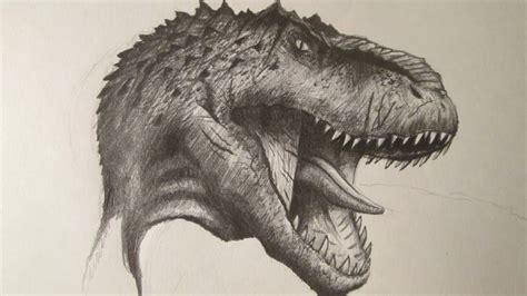 Cómo dibujar la cabeza de un dinosaurio carnívoro a lápiz ...