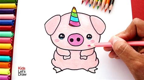Cómo dibujar un Cerdito Unicornio  Cerdicorn  | How to ...