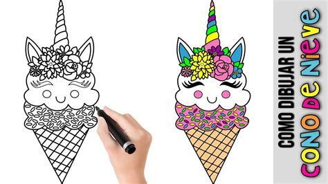 Como Dibujar Un Cono De Nieve Unicornio Kawaii ...