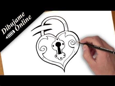 como dibujar un corazon candado   YouTube