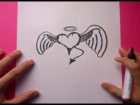 Como dibujar un corazon con alas paso a paso 2 | How to ...