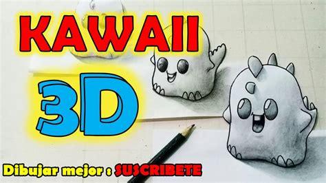 COMO dibujar un DINOSAURIO 3D KAWAII paso a paso DIBUJOS ...