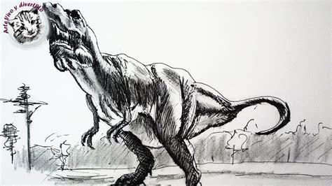 Como dibujar un dinosaurio con lapiz y tinta paso a paso ...
