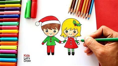 Cómo Dibujar Un NIÑO y Una NIÑA en NAVIDAD | How to Draw a ...