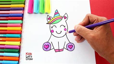 Cómo dibujar un UNICORNIO kawaii fácil   How to Draw a ...