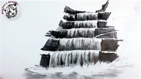 Como Dibujar una Cascada a Lapiz Paso a Paso | Tecnicas de ...