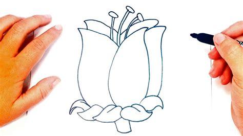 Cómo dibujar una Flor paso a paso   Dibujo fácil de Flor ...
