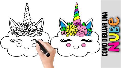 Como Dibujar Una Linda Nube Unicornio Kawaii  Dibujos De ...