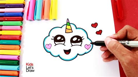 Cómo dibujar una NUBE UNICORNIO | How to draw a cute ...
