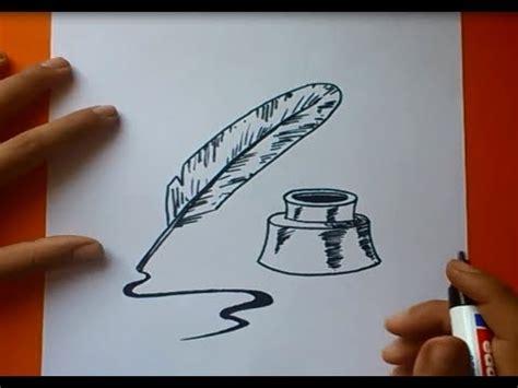 Como dibujar una pluma paso a paso   How to draw a quill ...