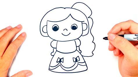Cómo dibujar una Princesa paso a paso   Dibujo fácil de ...