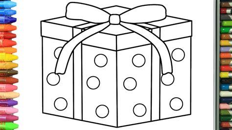 Cómo Dibujar y Colorear Caja de regalo de navidad ...