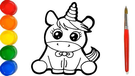 Como Dibujar y Colorear un Unicornio Kawaii   Dibujos Para ...