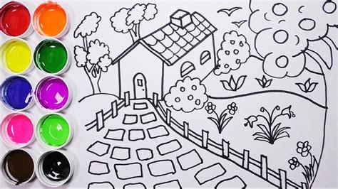 Como Dibujar Y Colorear Una Casa Con Arbol y Un Jardin ...