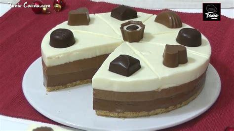 Como hacer la irresistible Tarta fría de 3 Chocolates ...