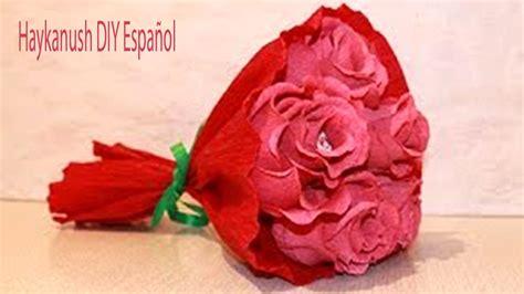Como Hacer Rosas con Papel Crepe Faciles Paso a Paso Ramo ...